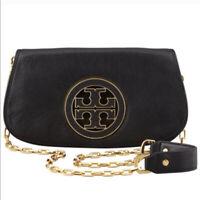 Tory Burch Amanda T-LOGO flap clutch crossbody black leather bag