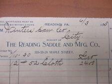 Vintage Letterhead The Reading Saddle and Mfg co Saddles Reading PA 6/3/1903