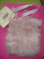 AUTHENTIC UGG SHEARLING FUR PURSE CROSS BODY FLUFF MOMMA PASTEL PINK NEW