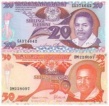 20 & 50 Shilingi Tanzania Banknotes - Pick 15 & 16 - Uncirculated