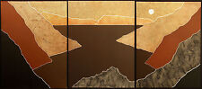 """Keefer """"Taos XCI, XCII, XCIII"""" Signed Limited Ed. Collagraph triptych 3pc. Art"""