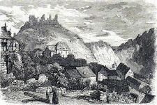 Antique print gravure holzstich: ruins burg Altenahr Rheinland-Pfalz Germany