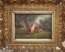 ** huile sur bois vache - cheval - mouton 18ème !! **