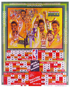 Milwaukee Bucks 1979-80 Promotional Schedule Poster, 8x10 Color Photo