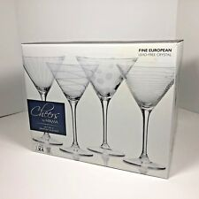 Cheers by Mikasa Etched Crystal 10 Ounce Martini Glasses Set of 4 NEW