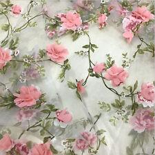 1yard 3D Chiffon Rose Flower Ivory Organza Lace Fabric 51' Width Hand Embroidery