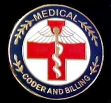 Professional Medical Red Cross Caduceus 119 Medical Coder and Billing Lapel Pin