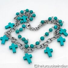 Western Faux Turquoise Crosses Boot Charm Jewelry Adjustable Boot Bracelet