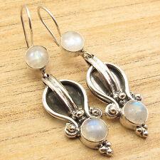 "925 Silver Plated RAINBOW MOONSTONE 2 Gemset Retro Style ART Earrings 2"""
