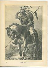 ANTIQUE STRONG MAN INDIAN SCOUT SPEAR FEATHERS ARMOR HORSE MARSH OLD ART PRINT