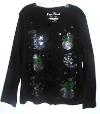 ONQUE CASUALS Black Christmas Sweater Cardigan Silver Sequins Ugly Sz