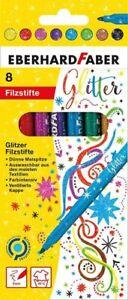 Eberhard Faber Glitzer Filzstifte 8 leuchtenden Farben Minenstärke 3 mm 551008