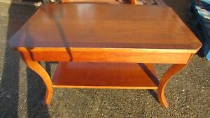 Lozenge Shaped Wooden Coffee Table with Shelf and Curved Legs