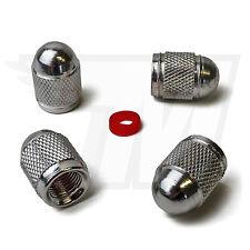 4x Tapón De La Válvula metal para Neumáticos coche, Bicicleta BALA EN PLATA