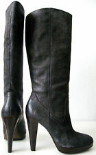 Frye Harlow Campus Bottes Femmes Cuir Talons Hauts Luxe boots gris taille 37/7 m NEUF