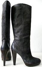 FRYE HARLOW CAMPUS Stiefel Damen Leder High Heel Luxus Boots Grau Gr.37 / 7M NEU