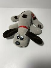 Vintage 1985 POUND PUPPY Newborn Gray Brown Spots Bow Collar 8""