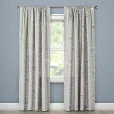 Threshold Curtain Window Panel Gray Medallion 54 x 84 Fabric Drapes New