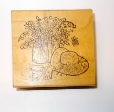 Great Impressions Gardening rubber stamp flowers vase gloves tool straw hat G166
