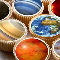 24 Edible cake toppers decorations Space Solar system planet planets Earth Moon