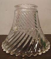 "2 1/4"" Holophane Style Cone Ribbed Glass Shade Globe Fan Fixture"