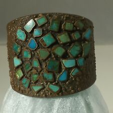 Solid Copper Vintage Bell Trading Post Turquoise Corinthian Cuff Bracelet 2 3/8""