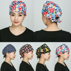 Women Men Scrub Hat Cap Unisex Adjustable Work Accessories Head Wear Dog Print