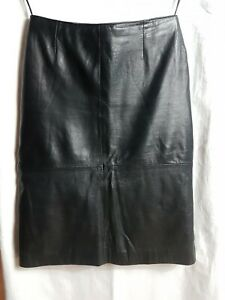 "Soft Black Leather 28"" Waist Size 10 Knee Length Straight Skirt"