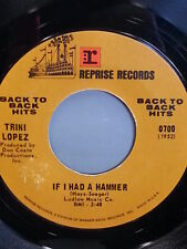 "TRINI LOPEZ 45 RPM ""If I Had a Hammer"" ""Lemon Tree"" Back-to-Back Hits"" VG+ cond"