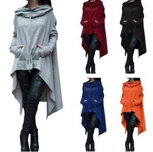 Occident Women Irregular Hooded Hoodies Punk Gothic Loose Sweatshirt Plus Size B