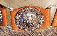 Vtg Womens Peasant Belt Sz 30 Brown Leather Metal Link 3D Concho Western USA