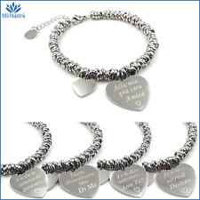 Bracciale da donna con cuore scritta braccialetto incisione in acciaio vasco per