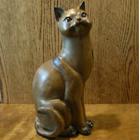"Wood Look Sitting Cat Figurine from Transpac #D6012B 11.5"" NIB From Retail Store"