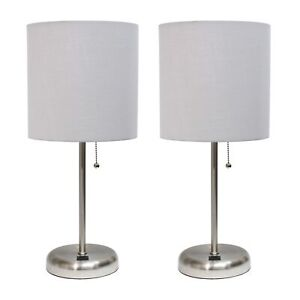 Stick Lamp with USB charging port and Fabric Shade 2 Pack Set