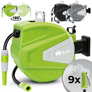 tillvex® Schlauchaufroller Wasser Schlauchtrommel Garten Wasserschlauchaufroller