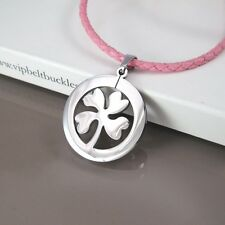 Silver Stainless Celtic Four Leaf Clover Pendant Girls Pink Leather Necklace NEW