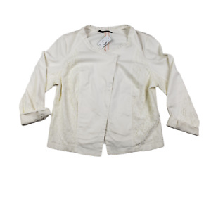 New Maurices White Jacket W/ Lace Emboroidered Button Up Plus Size 1
