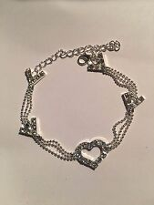 Crystal Heart Ankle Bracelet-A32 New Silver Bead 3-Strand