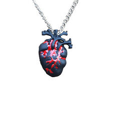 Gothic Black & Bloody Red Anatomical Heart Necklace Zombie Horror pendant