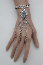 Big Silver Metal Coin Charm Hand Chain Bracelet Fashion Jewelry 3 Finger Rings