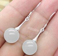 Pretty 10mm Natural White Jadeite Jade 925 S Silver Hook Dangle Earrings