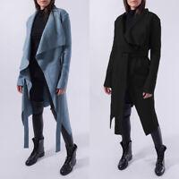 ZANZEA Women Long Sleeve Lapel Solid Trench Coats Jacket Fur Waterfall Cardigans