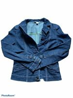 cabi womens blue denim long sleeve button down jean jacket size small