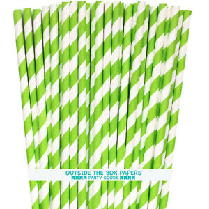 Lime Green Stripe Paper Straws - 100 Pack - Outside the Box Papers