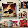 Sexy Women oil painting 18inch Linen Pillow cases Cushion Cover Sofa Home Decor