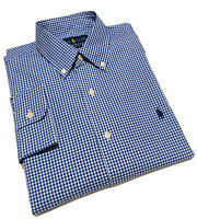 Ralph Lauren Men's Casual Shirt In Blue Mini Check Classic Fit Size S