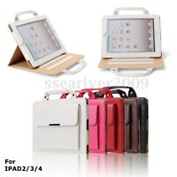 Portable Leather Smart Stand Case Cover With Handle For iPad 2/3/4