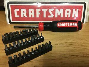 CRAFTSMAN 34 PC PREMIUM MAGNETIC SCREWDRIVER BIT SET TORX SLOT PHILLIP SQUAR