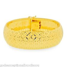 14K GOLD & BZ BIG DIAMOND CUT CUFF BANGLE FLEX  BRACELET SZ 7 INCH  ITALY 30 GR