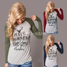 Christmas Cotton Blend Long Sleeve Tops & Shirts for Women